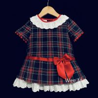 New Arrival Baby Girl Spanish A Line Tartan Dress Lace Collar